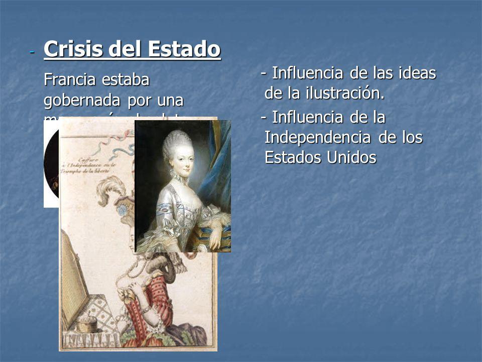 Crisis del Estado Francia estaba gobernada por una monarquía absoluta y obsoleta.