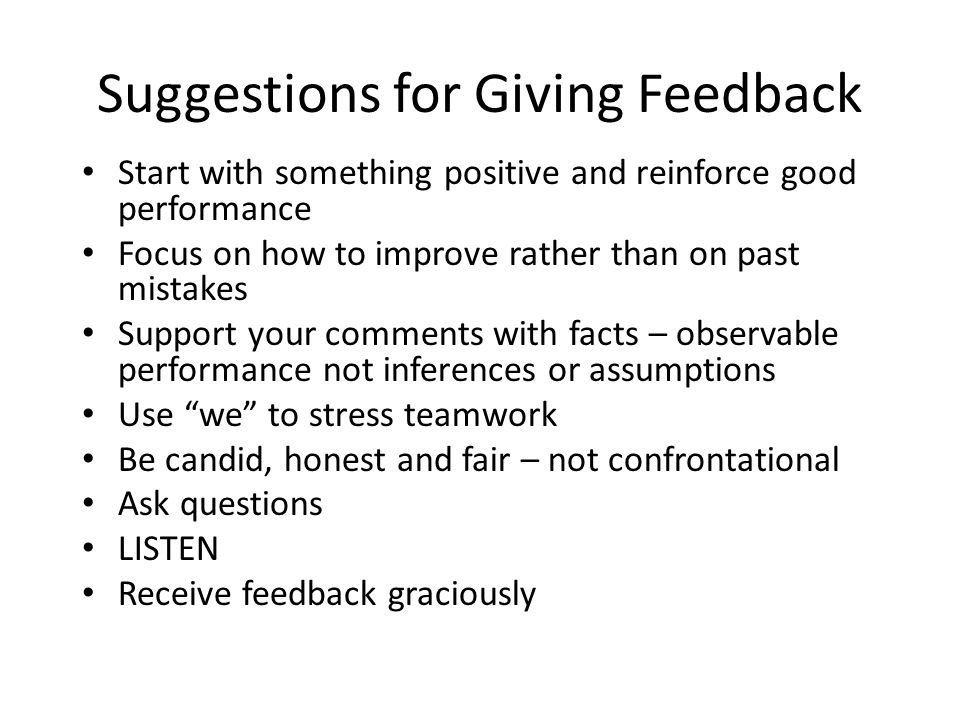 Suggestions for Giving Feedback
