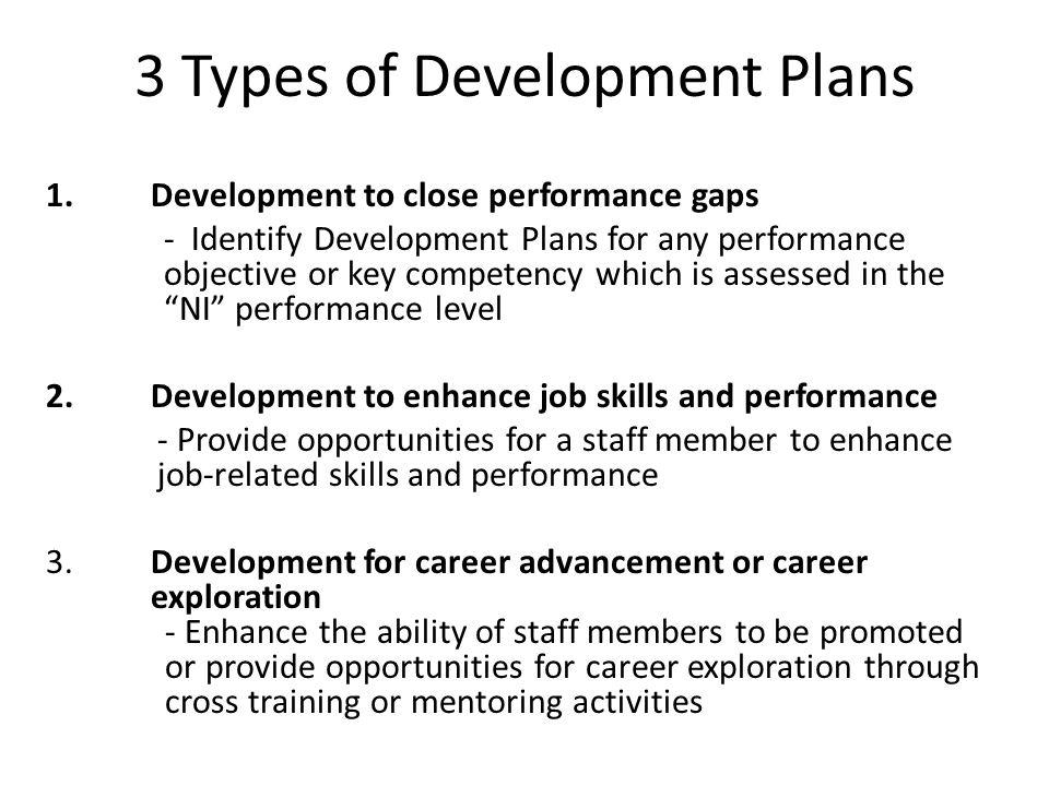3 Types of Development Plans