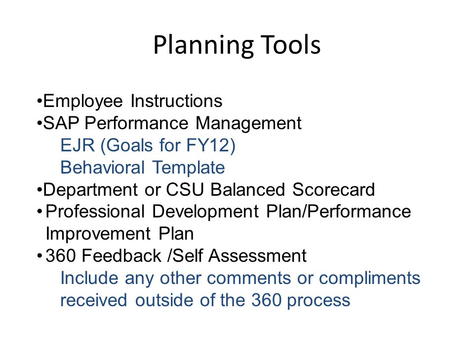 Planning Tools Employee Instructions SAP Performance Management