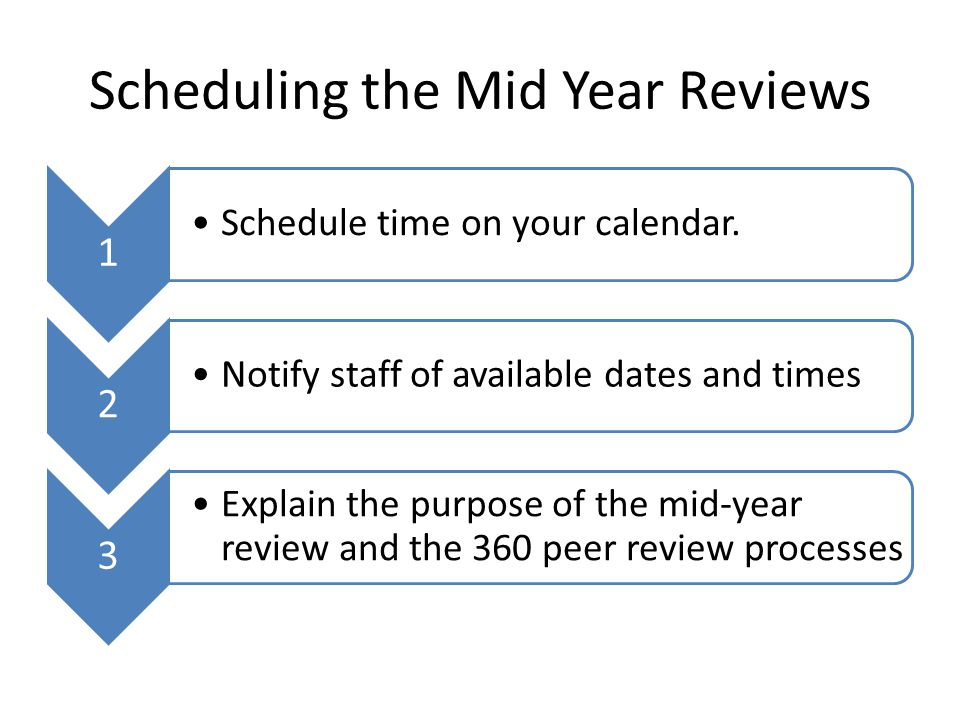 Scheduling the Mid Year Reviews