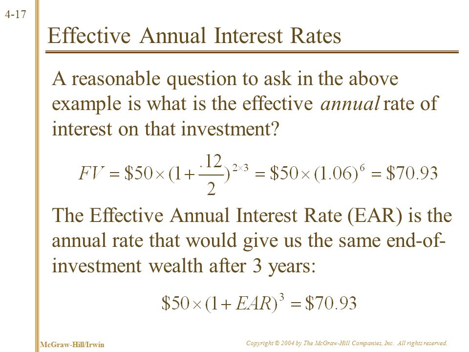 Effective Annual Interest Rates (continued)