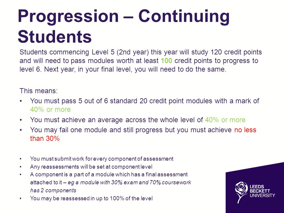 Progression – Continuing Students