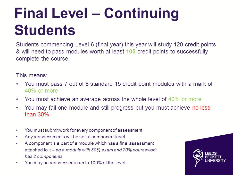 Final Level – Continuing Students