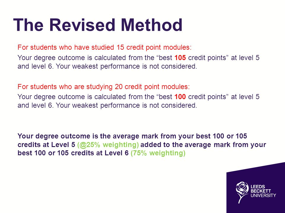 The Revised Method For students who have studied 15 credit point modules:
