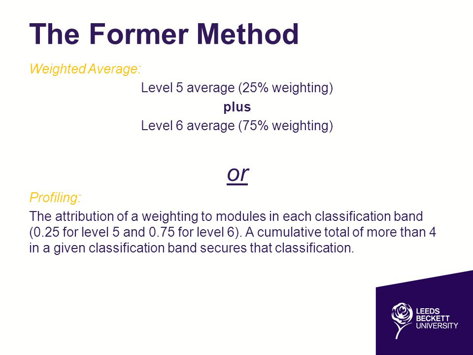 The Former Method or Weighted Average: Level 5 average (25% weighting)