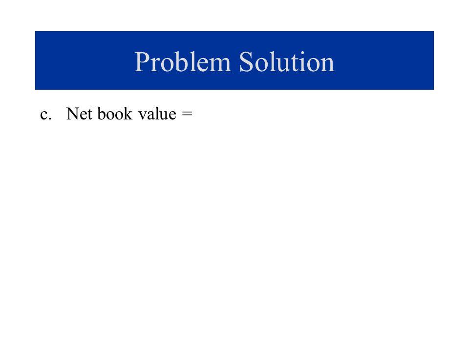 Problem Solution c. Net book value =