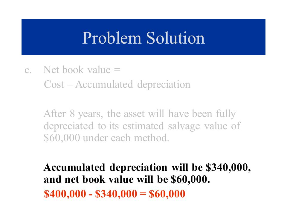 Problem Solution c. Net book value = Cost – Accumulated depreciation