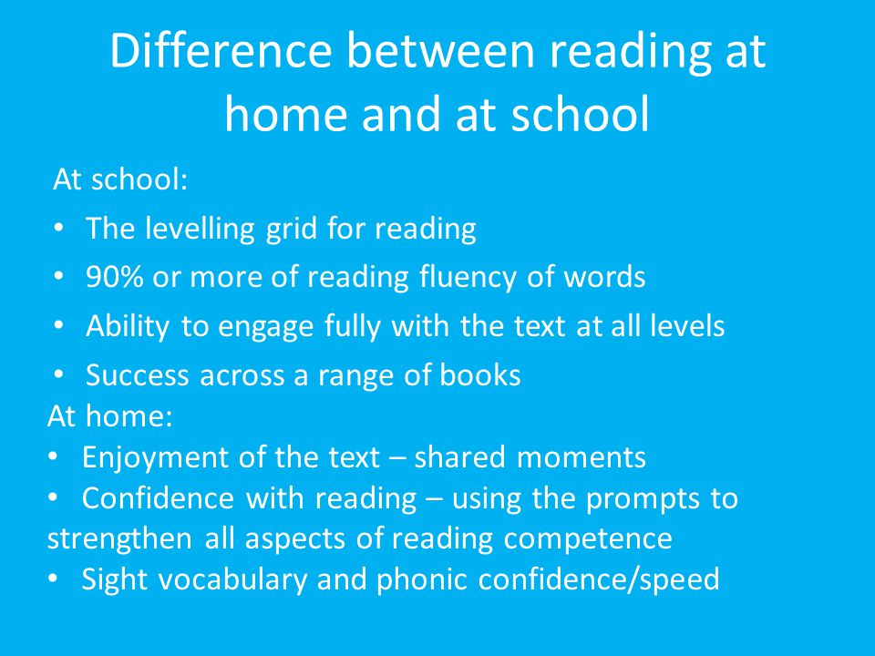 Difference between reading at home and at school
