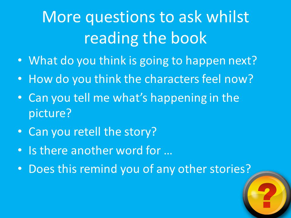 More questions to ask whilst reading the book