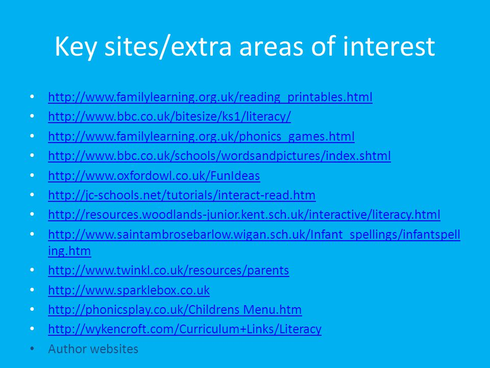 Key sites/extra areas of interest