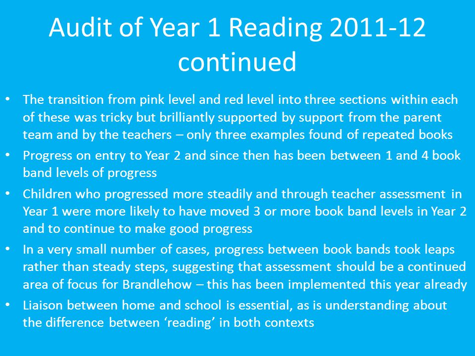 Audit of Year 1 Reading 2011-12 continued