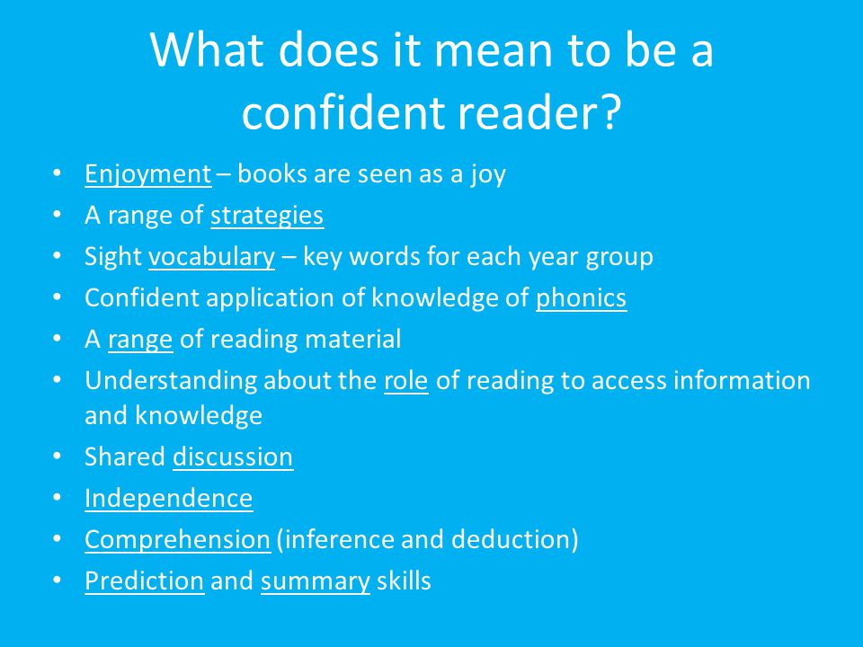 What does it mean to be a confident reader