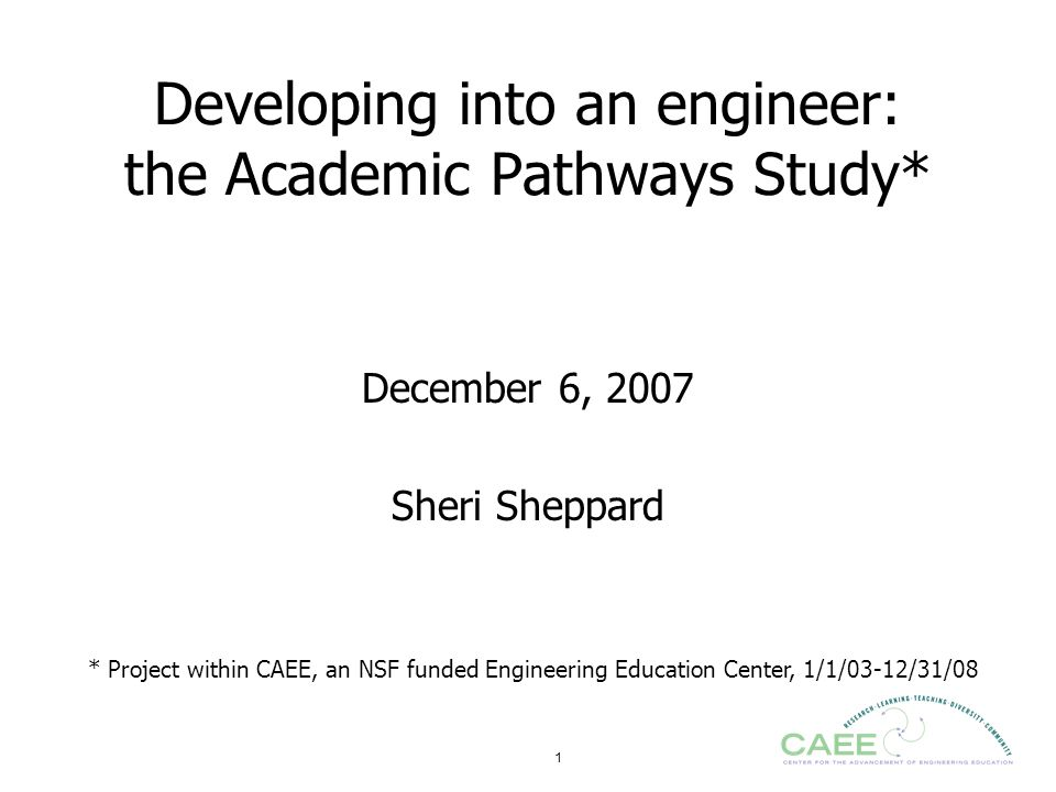 Developing into an engineer: the Academic Pathways Study*