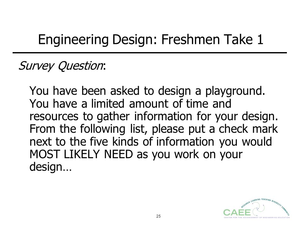 Engineering Design: Freshmen Take 1
