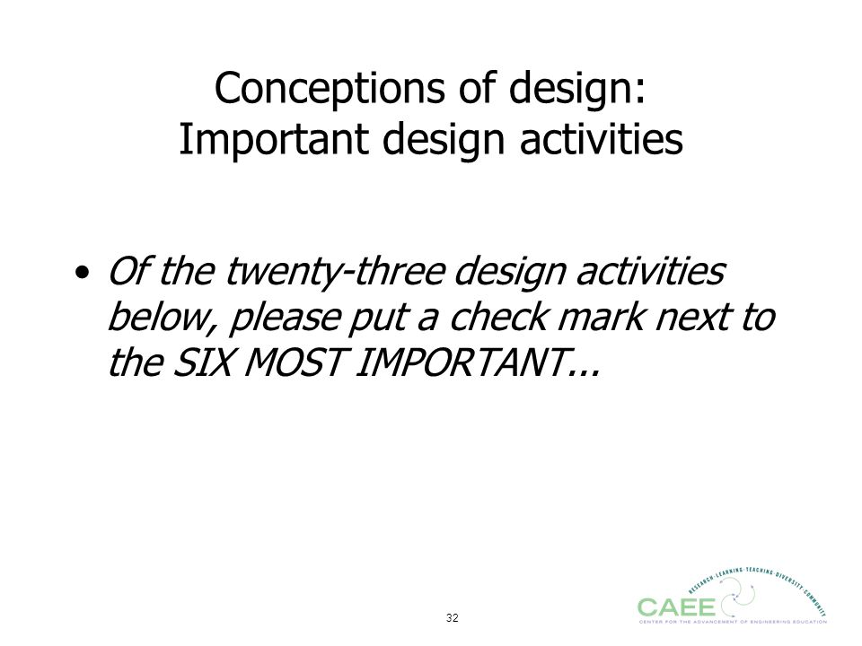 Conceptions of design: Important design activities