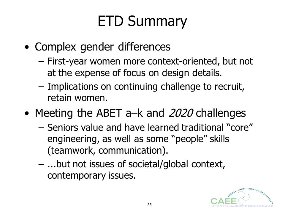 ETD Summary Complex gender differences