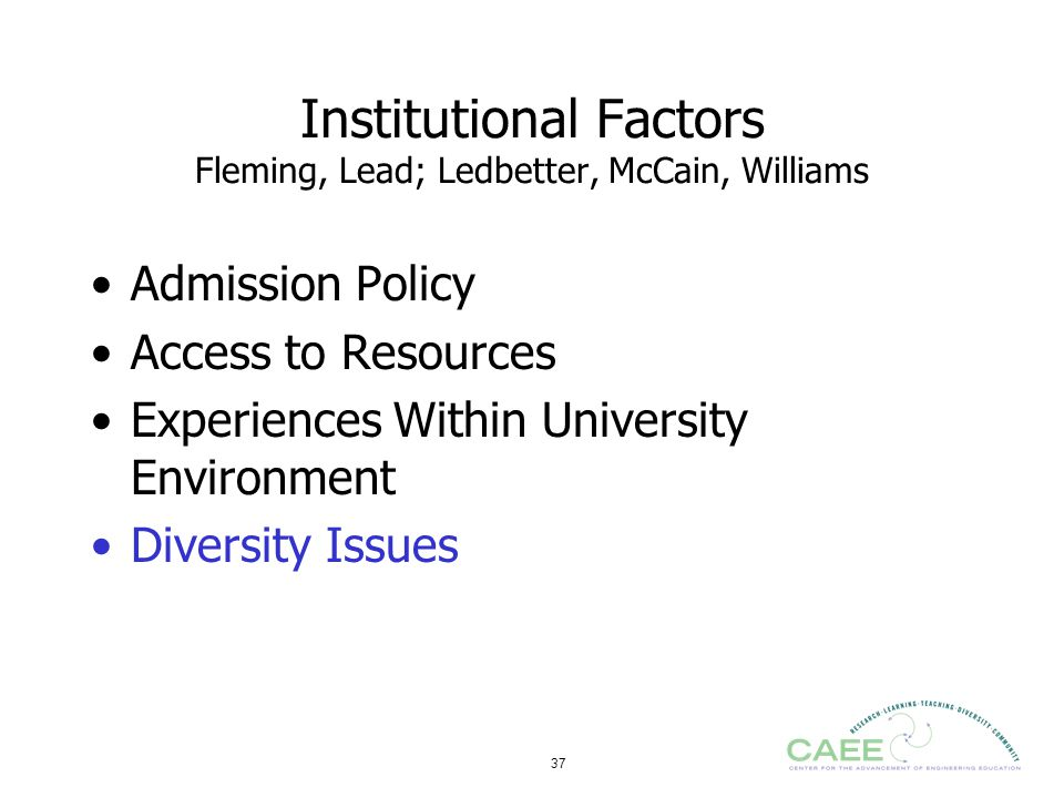 Institutional Factors Fleming, Lead; Ledbetter, McCain, Williams