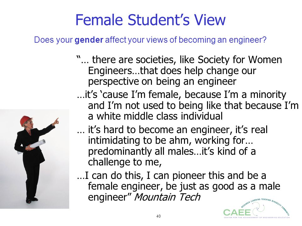 Female Student's View Does your gender affect your views of becoming an engineer