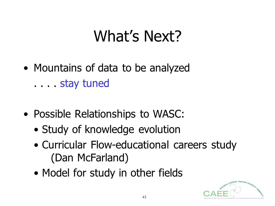 What's Next Mountains of data to be analyzed . . . . stay tuned