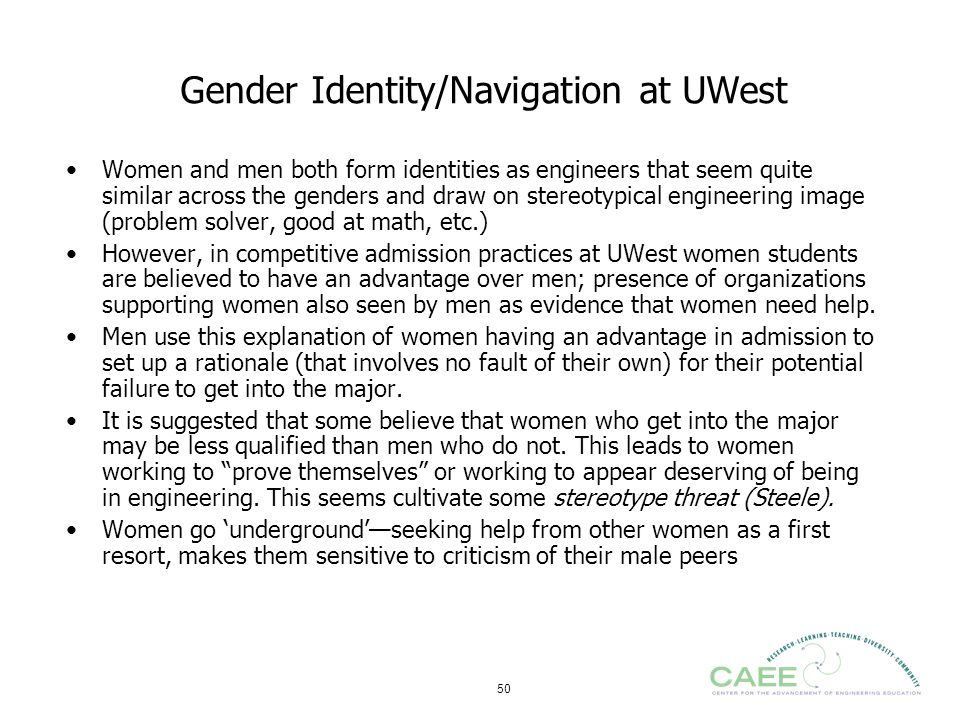Gender Identity/Navigation at UWest