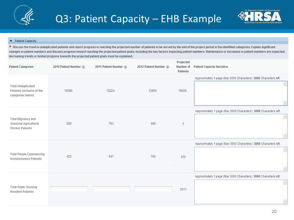 Q3: Patient Capacity – EHB Example