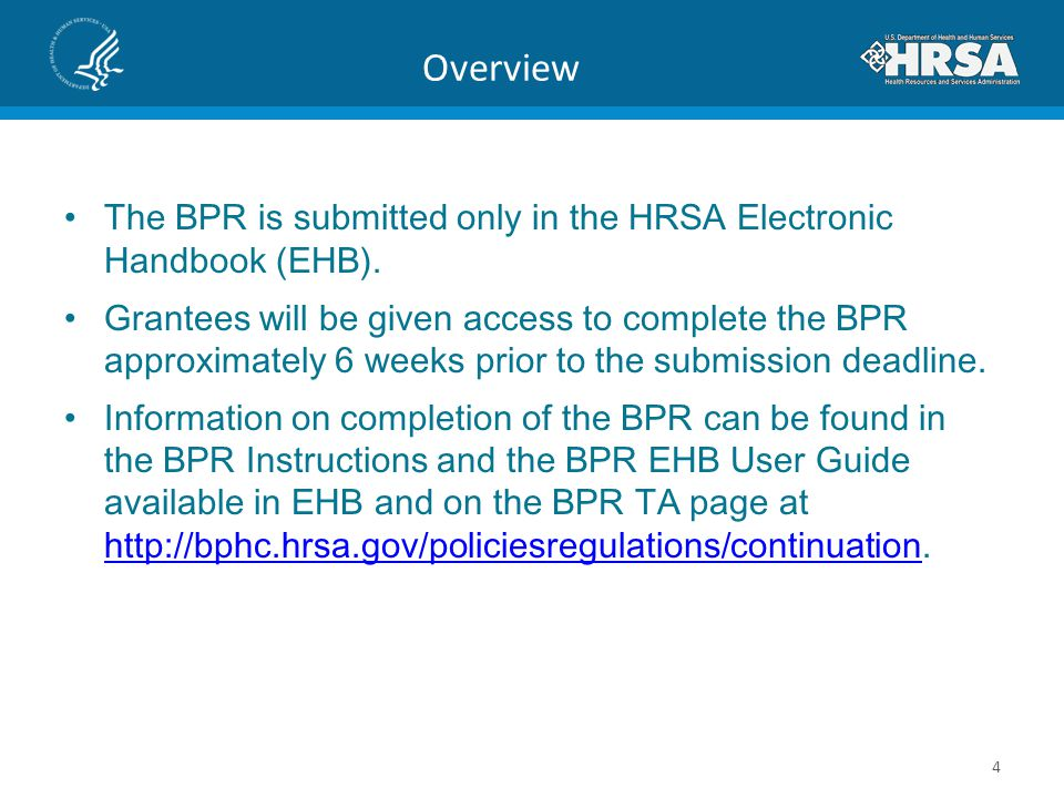 Overview The BPR is submitted only in the HRSA Electronic Handbook (EHB).