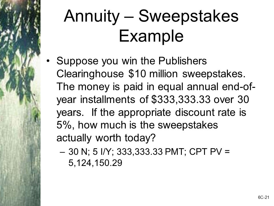 Annuity – Sweepstakes Example