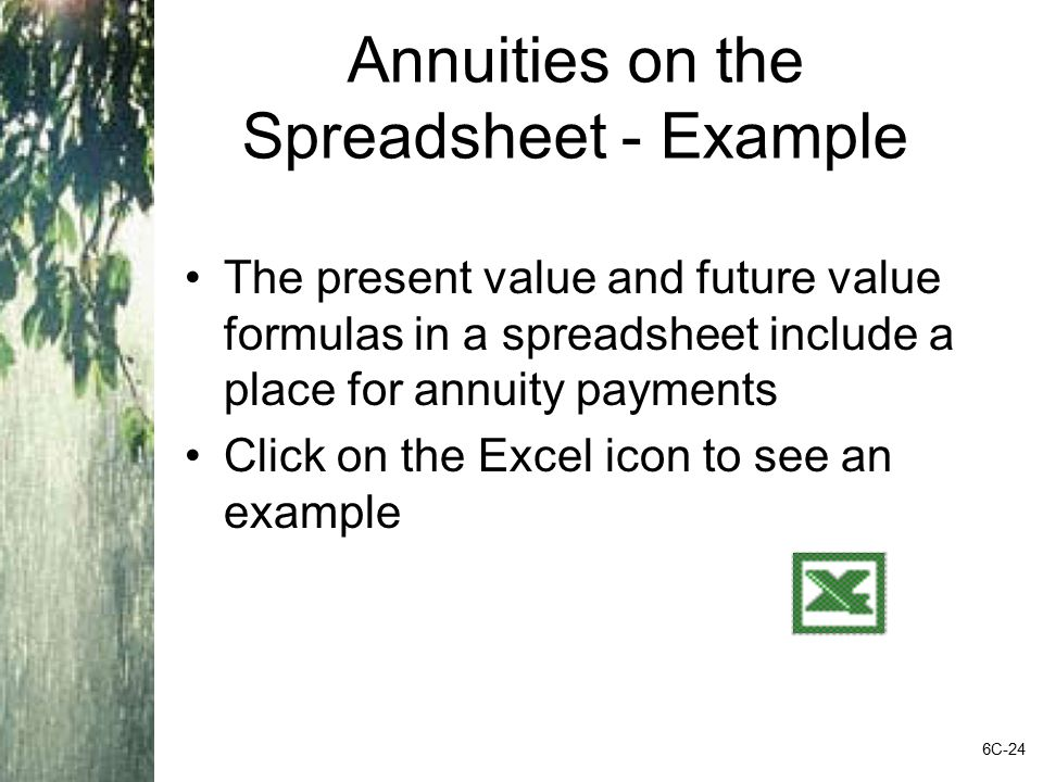 Annuities on the Spreadsheet - Example