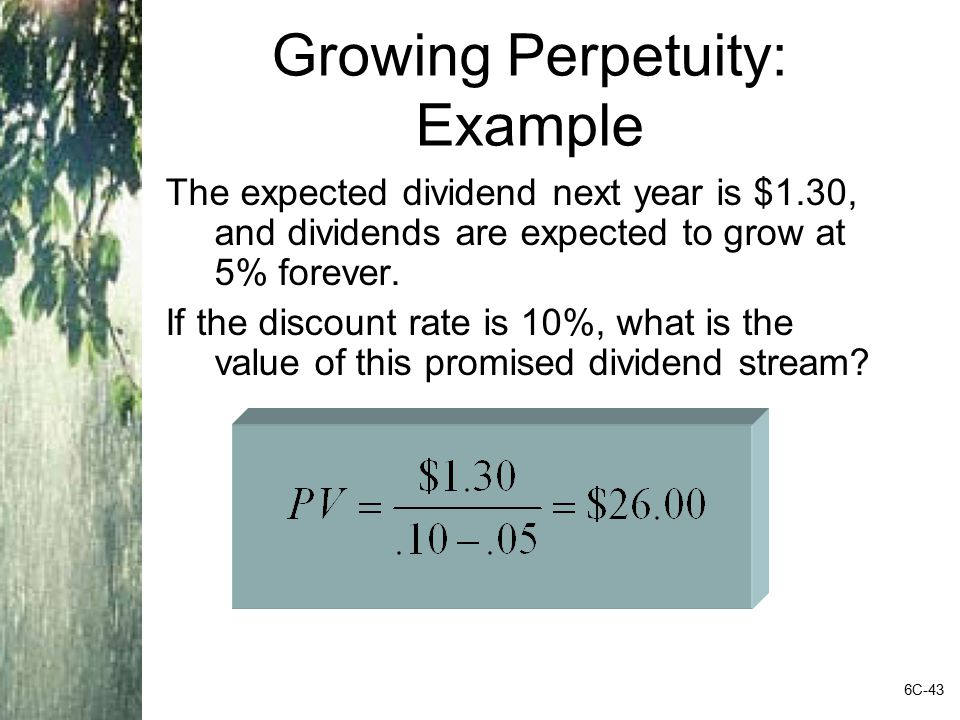 Growing Perpetuity: Example