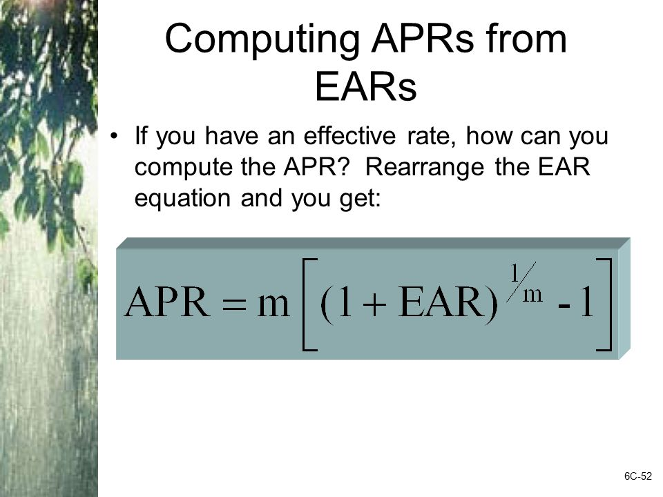 Computing APRs from EARs