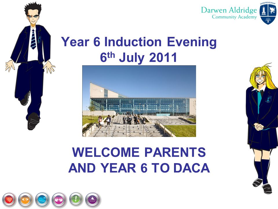 Year 6 Induction Evening 6th July 2011 WELCOME PARENTS AND YEAR 6 TO DACA
