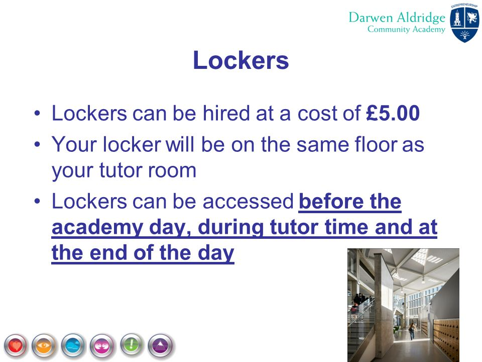 Lockers Lockers can be hired at a cost of £5.00