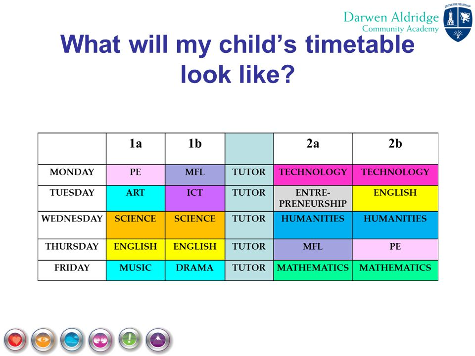 What will my child's timetable look like