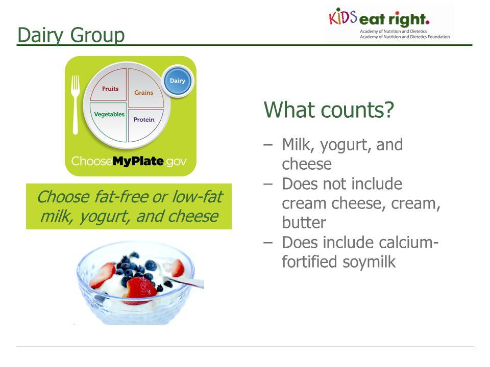 Choose fat-free or low-fat milk, yogurt, and cheese
