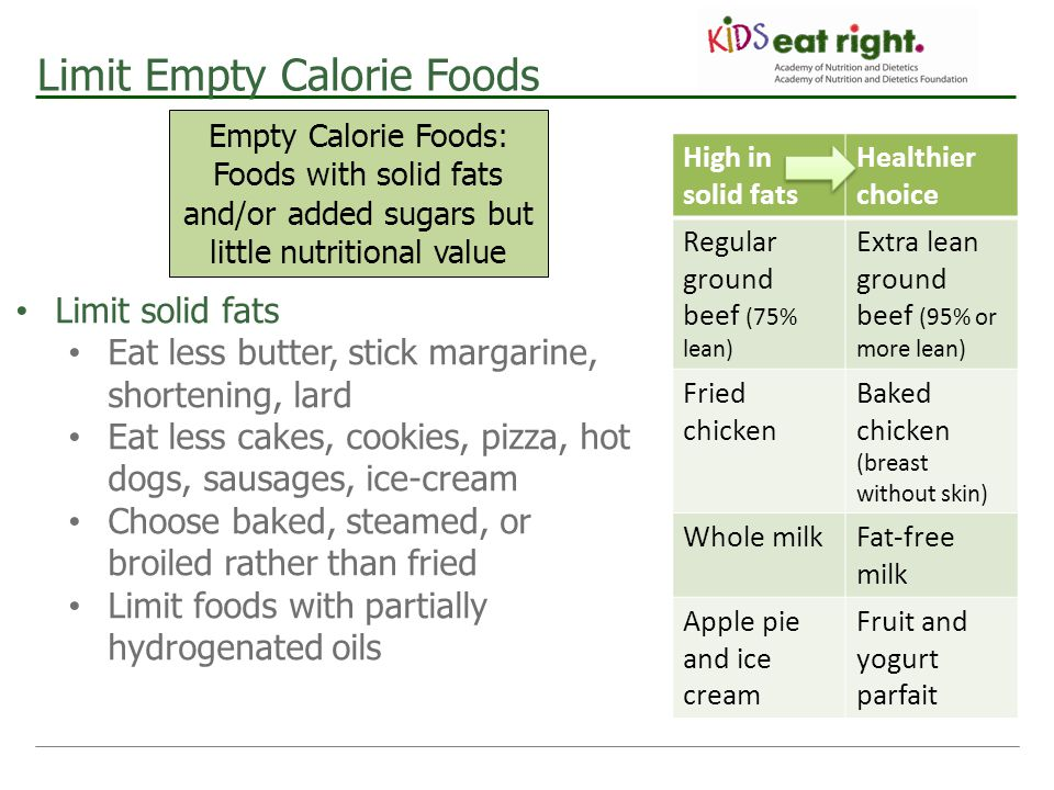 Limit Empty Calorie Foods