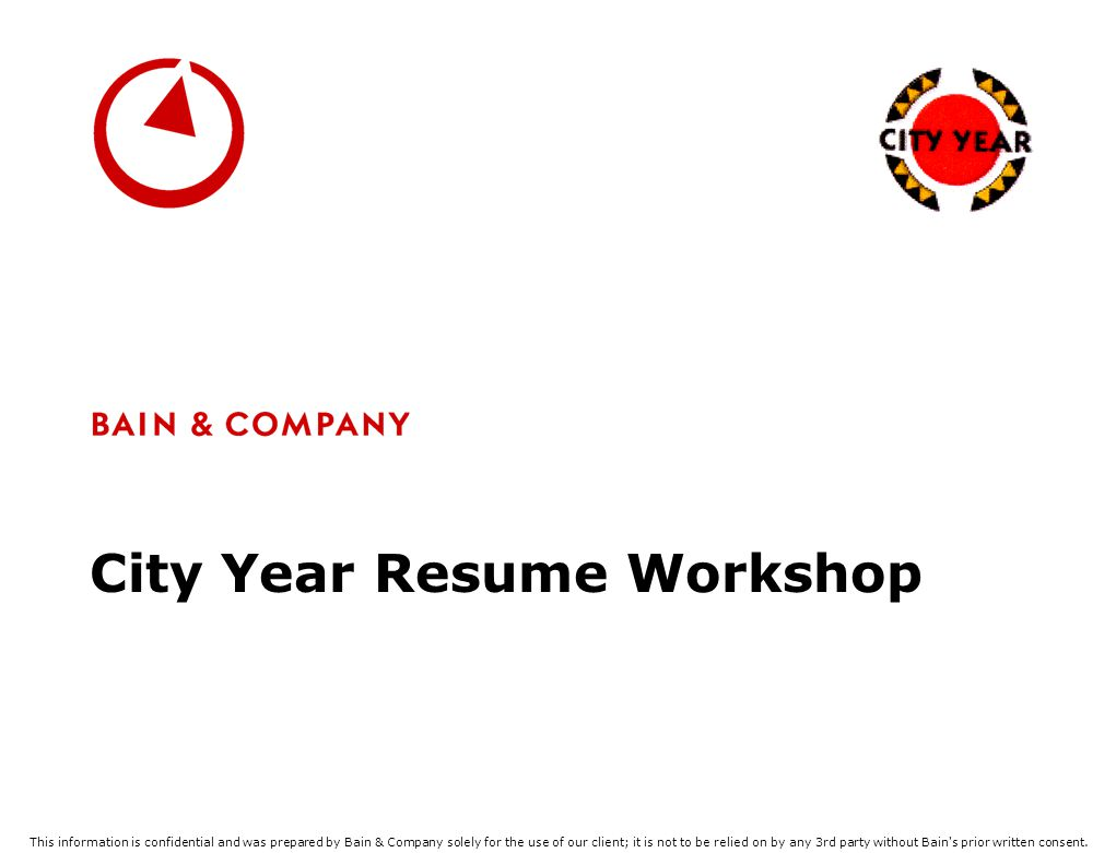 City Year Resume Workshop