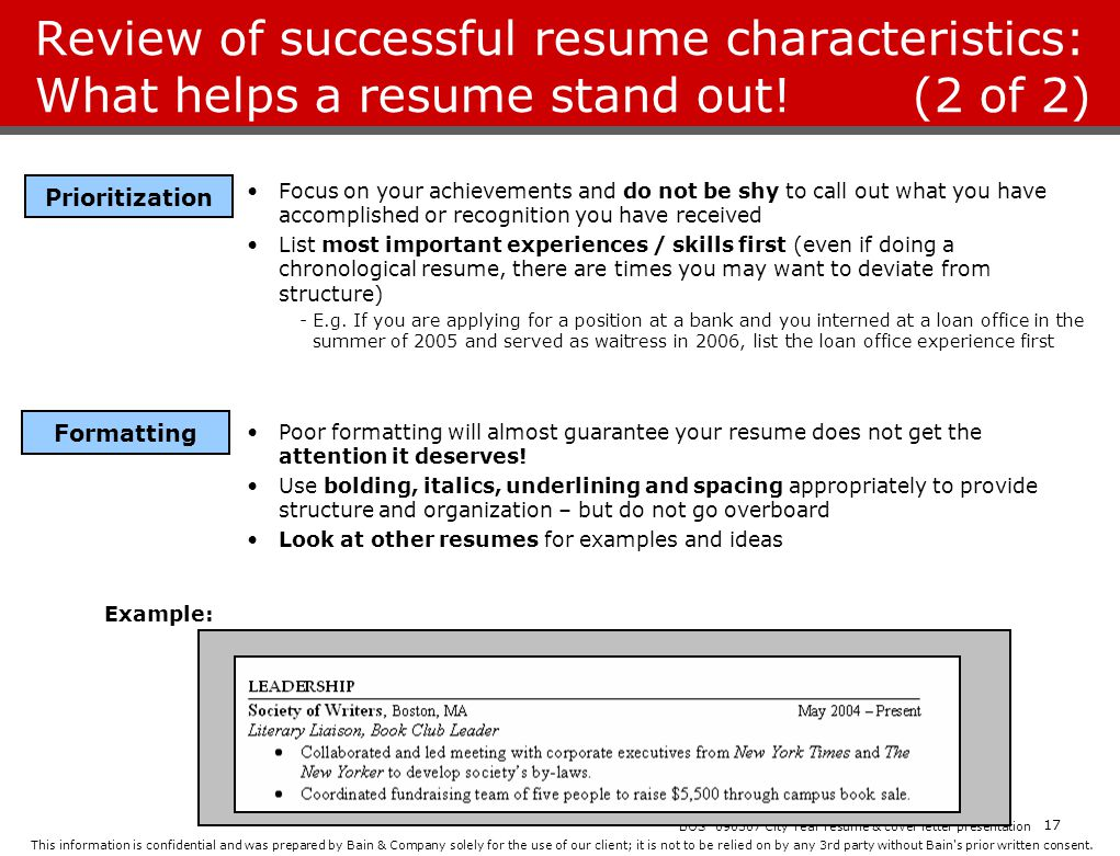 Review of successful resume characteristics: What helps a resume stand out! (2 of 2)