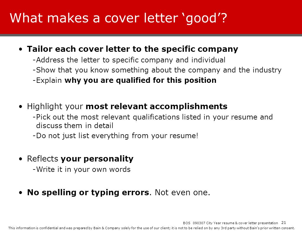 What makes a cover letter 'good'