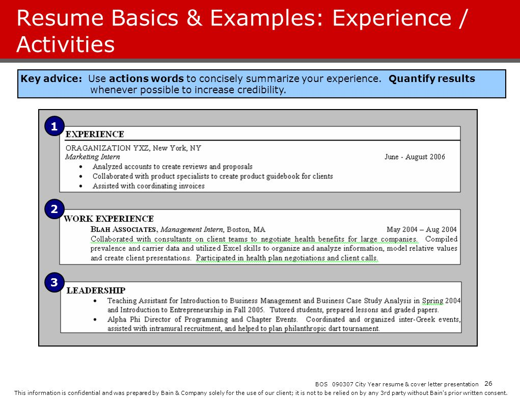 Resume Basics & Examples: Experience / Activities