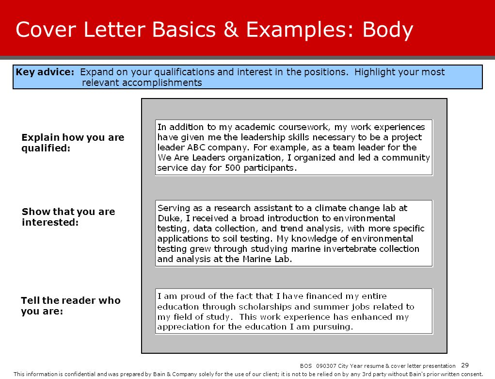 Cover Letter Basics & Examples: Body