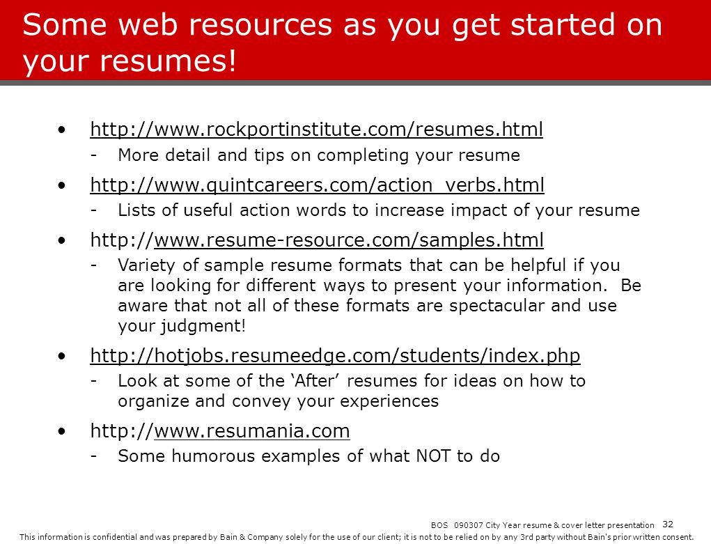 Some web resources as you get started on your resumes!