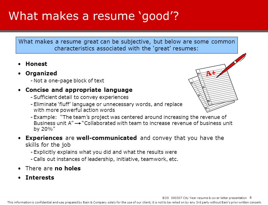 What makes a resume 'good'