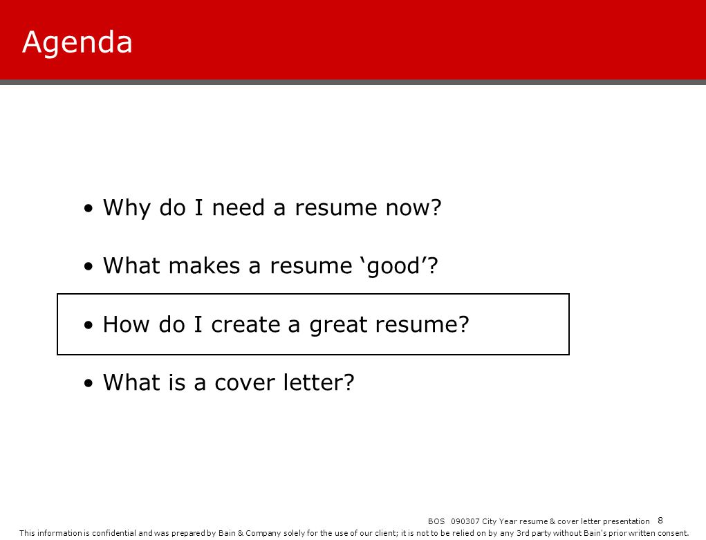 Agenda Why Do I Need A Resume Now What Makes A Resume U0027goodu0027  I Need A Resume