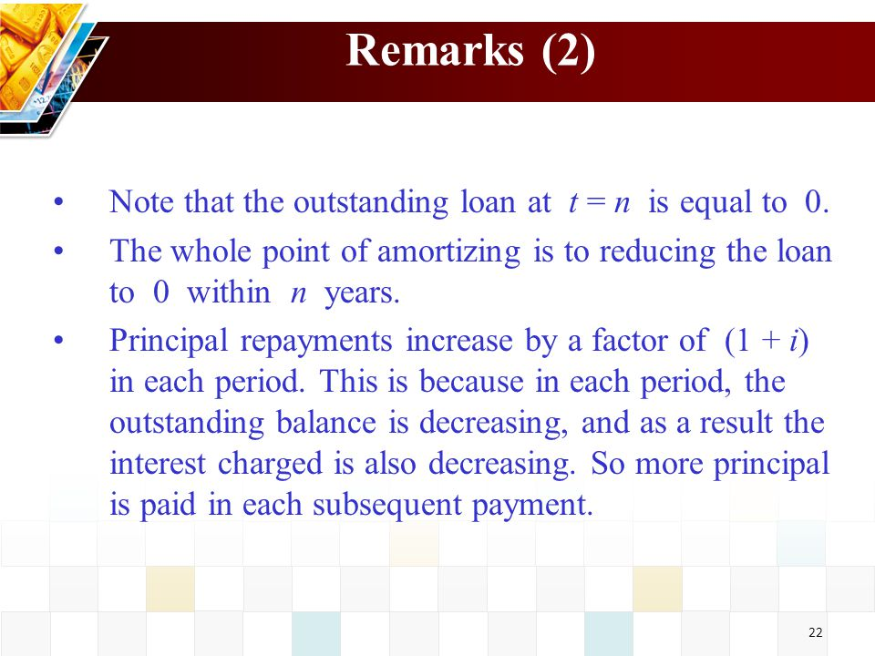 Remarks (2) Note that the outstanding loan at t = n is equal to 0.