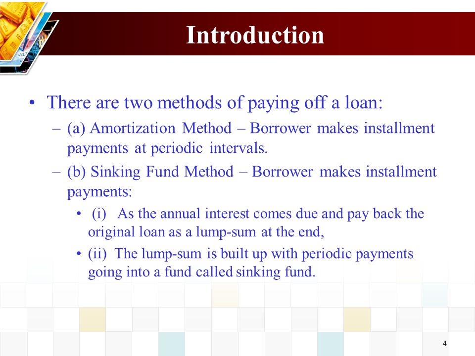 Introduction There are two methods of paying off a loan: