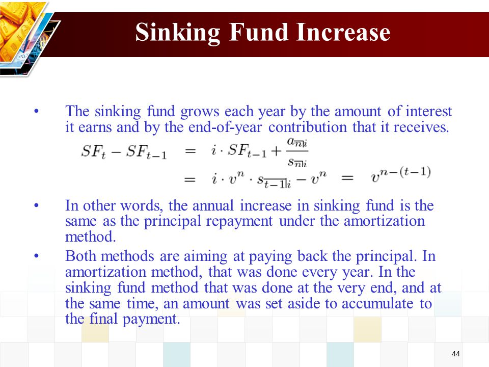 amortization and sinking fund First, understand that a sinking fund provision is really just a pool of money set aside by a corporation to help repay a bond issue typically, bond agreements (called indentures) require a.
