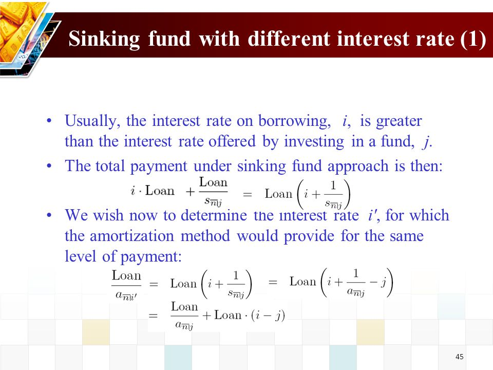 Sinking fund with different interest rate (1)