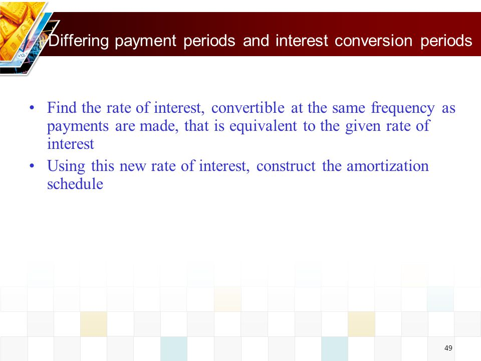 Differing payment periods and interest conversion periods