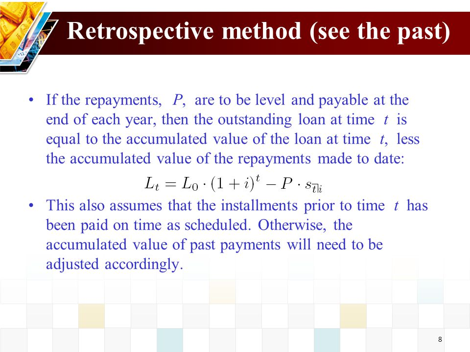 Retrospective method (see the past)